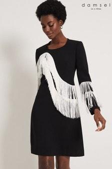 Damsel In A Dress Black Abline Fringe Dress