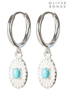 Oliver Bonas Caspari Oval Engraved & Stone Detail Drop Silver Earrings