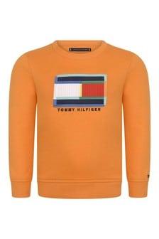 Boys Orange Cotton Flag Sweatshirt