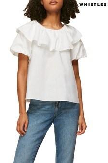 Whistles Frill Detail Collar T-Shirt
