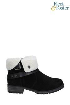 Fleet & Foster Black Soda Ankle Boots