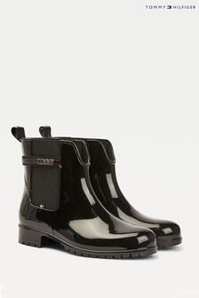 Tommy Hilfiger Black Block Branding Rain Boots
