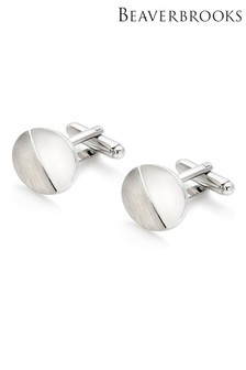 Beaverbrooks Oval Brushed And Polished Men's Cufflinks