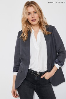 Mint Velvet Grey Linen Blend Shawl Blazer