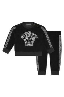Baby Boys Black Cotton Logo Tracksuit