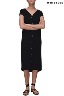 Whistles Black Button-Up Dress