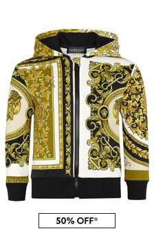 Versace Baby Boys White Cotton Zip Up Top