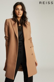 Reiss Tan Evie Wool Blend Mid Length Overcoat