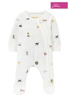 Joules White The Zip Babygrow