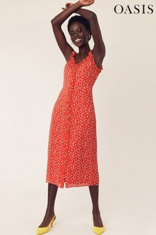 Oasis Red Floral Ruffle Midi Dress