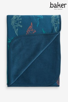 Baker by Ted Baker Dinosaur Printed Blanket With Velour Backing