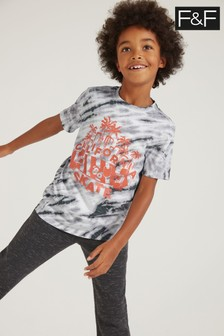 F&F Grey Tie Dye T-Shirt With Red Placement Print