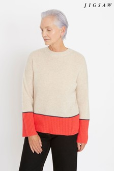 Jigsaw Orange Cashmere Colourblock Jumper