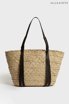 AllSaints Natural Straw Seagrass Playa Beach Bag