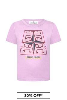 Stone Island Junior Boys Pink Cotton T-Shirt