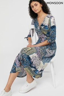 Monsoon Navy Payton Printed Midi Dress