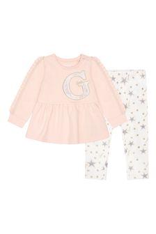 Baby Girls Pink & White Cotton Leggings Set