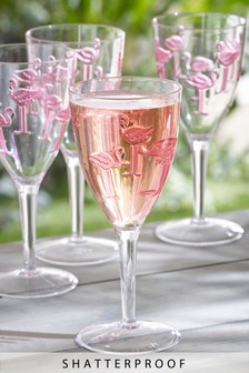 Set of 4 Plastic Flamingo Wine Glasses