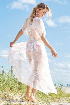 Maxi-Kimono in Wickeloptik