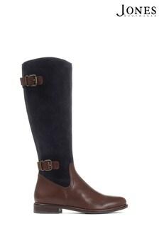 Jones Bootmaker Blue Leather Knee High Boots