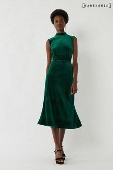Warehouse Green Velvet High Neck Midi Dress