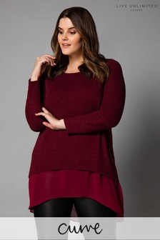 Live Unlimited Red Merlot Knit Chiffon Layered High Low Top