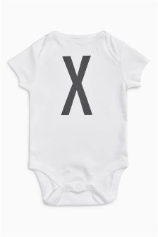 Initial Short Sleeve Bodysuit With Matching Letter Drawstring Bag (0mths-2yrs)