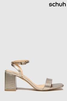 Schuh Gold Sienna Block Heel Sandals