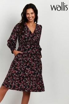 Wallis Petite Black Floral Print Midi Dress