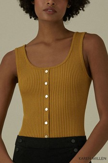 Karen Millen Mustard Popper Front Rib Knit Top