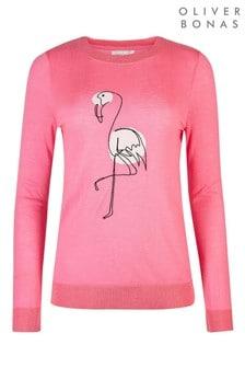 Oliver Bonas Pink Flamingo Motif Jumper