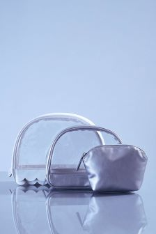 Set of 3 Scallop Edge Make Up Bags