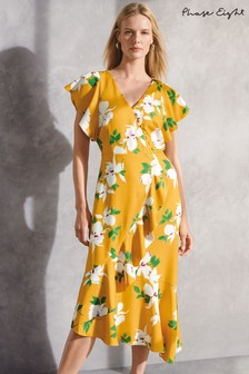 Phase Eight Yellow Dannie Floral Dress