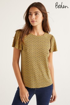 Boden Yellow Charlotte Jersey Top
