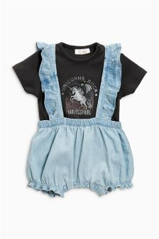 Frill Dungaree And Bodysuit Set (0mths-2yrs)