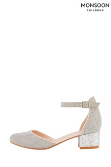 Monsoon Silver Diamante Two Part Heeled Shoes