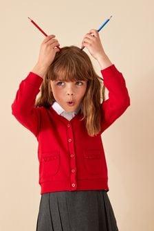 Frill Pocket Jersey Cardigan (3-16yrs)