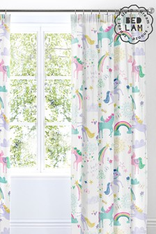 Rainbow Unicorn Pencil Pleat Curtains by Bedlam