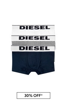 Boys Grey/Blue Cotton Boxer Shorts Three Pack
