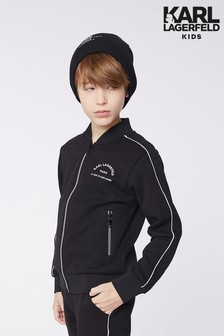 Karl Lagerfeld Black Logo Zip Up Sweatshirt