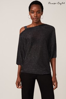 Phase Eight Grey Aine Shimmer One Shoulder Knit Top