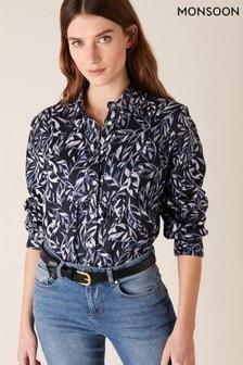 Monsoon Phoenix Printed Shirt In Pure Linen