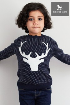 The Little Tailor Navy Reindeer Kids Christmas Jumper