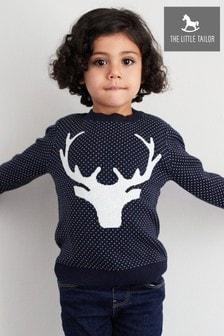 Tmavomodrý detský vianočný pulóver s motívom soba The Little Tailor
