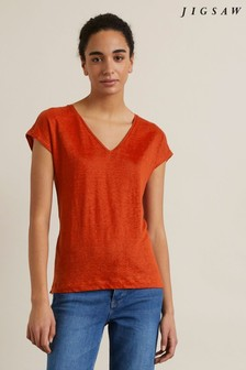 Jigsaw Orange Linen V Cap Sleeve T-Shirt