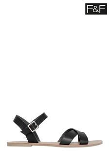 F&F Black Strappy Sandals