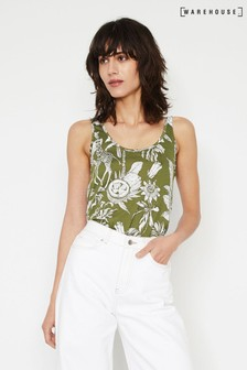 Warehouse Green Jungle Print Vest Top