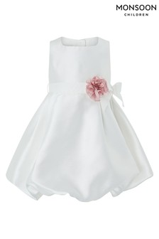 Monsoon Baby Pearl Puffball Ivory Dress