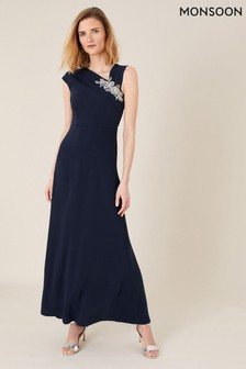 Monsoon Blue Maya Embellished Shoulder Maxi Dress