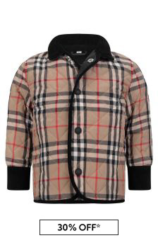 Baby Boys Beige Vintage Check Quilted Jacket